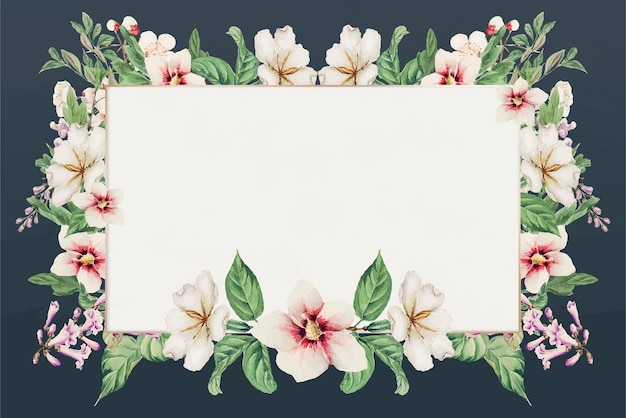Impression d'art vectoriel à cadre floral japonais vintage, remix d'œuvres d'art de megata morikaga