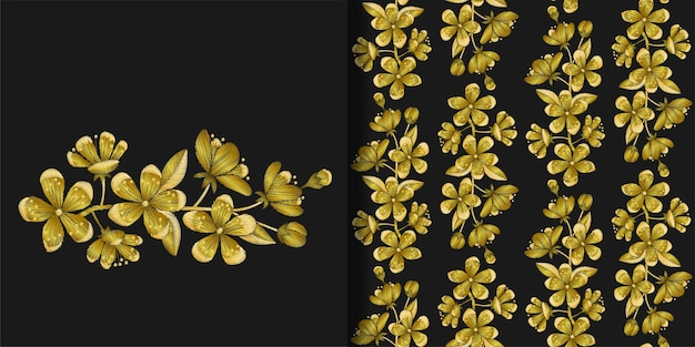 Impression de broderie de cerise d'or et motif sans couture décor de couture pour l'impression de t-shirt textile