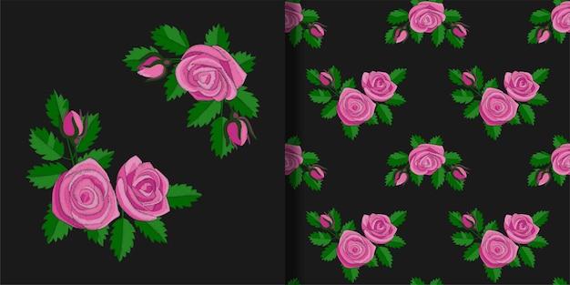 Impression de broderie rose rose et ensemble de motifs sans couture fonds d'écran pour imprimés textiles et t-shirts