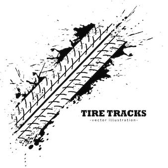 Impression de piste de pneu sur fond blanc