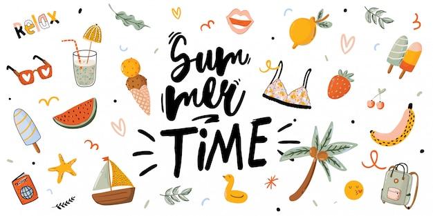 Impression d'été avec des éléments de vacances mignons et lettrage sur fond blanc. style branché dessiné à la main. . bon pour les invitations, étiquettes, tags, web, bannières, affiches, cartes et flyers