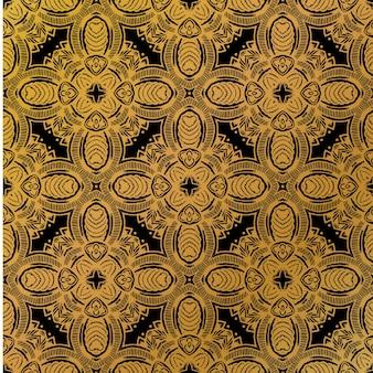 Impression de fond de batik de luxe en or