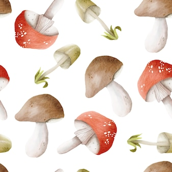 Impression de fond de champignons aquarelle