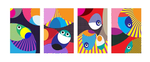 Impression de fond coloré tribal et curvy géométrique