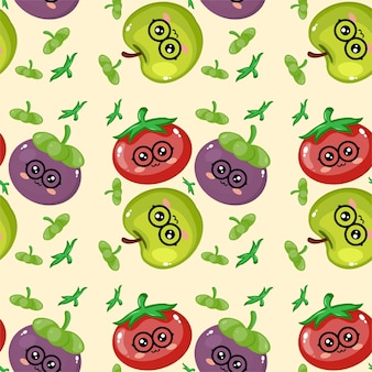 Impression de fond émoticône fruits créatifs