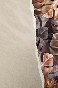 Impression de fond de feuille de monstera métallique