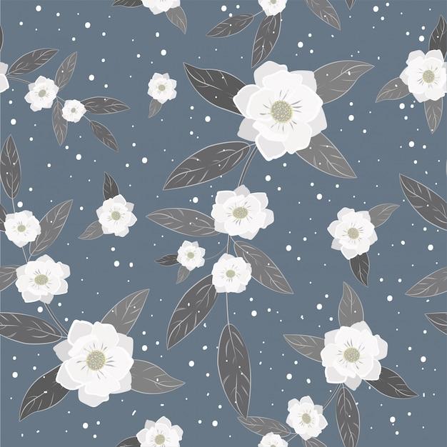 Impression de fond fleurs blanches sans soudure