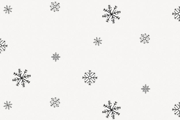 Impression de fond de flocons de neige, doodle de noël en vecteur noir