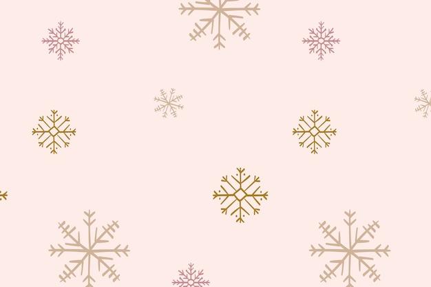 Impression de fond de flocons de neige, doodle de noël en vecteur rose