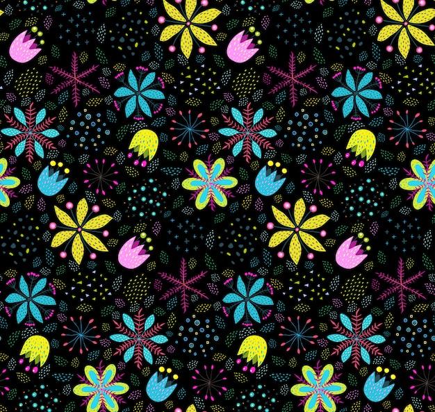Impression de fond floral coloré sans soudure