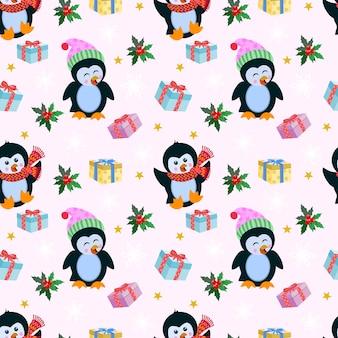 Impression de fond noël avec pingouin et cadeau.