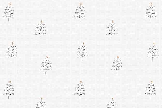 Impression de fond de noël, simples pins d'hiver doodle en vecteur noir