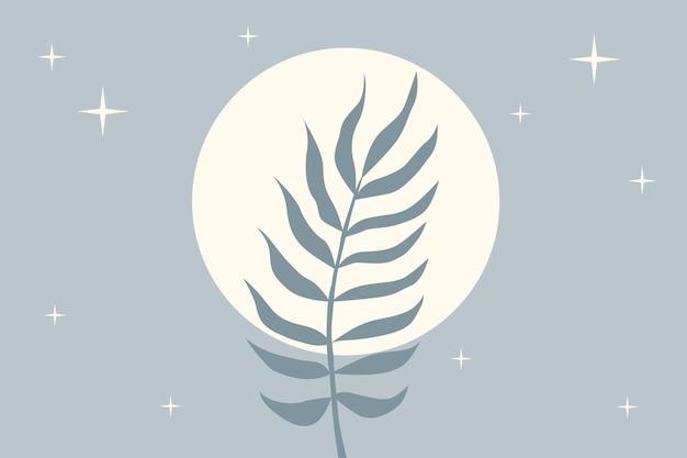 Impression de fond de plante feuille tropicale. illustration de couleur bleue