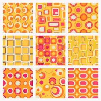 Impression de fond rétro, jeu de vecteurs de forme géométrique sans soudure