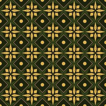 Impression de fond sans couture batik classique. papier peint mandala géométrique de luxe. élégant motif floral traditionnel de couleur verte