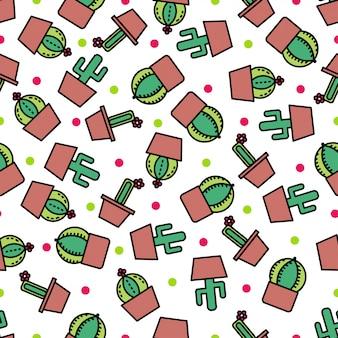 Impression de fond sans couture avec cactus mignon.