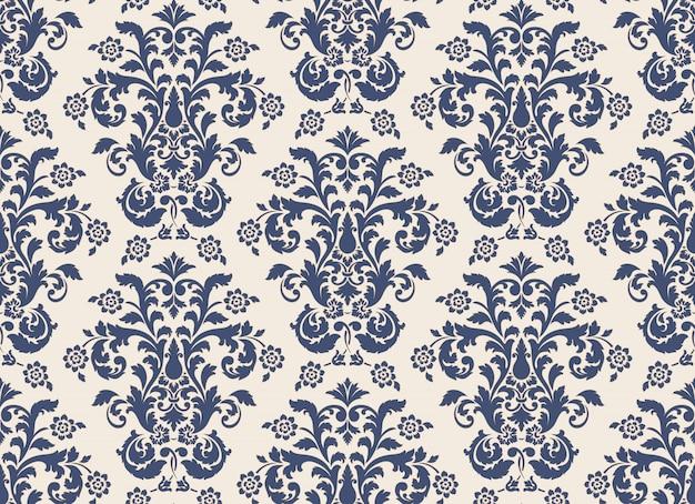 Impression de fond sans couture damassé. modèle baroque floral exquis vintage.