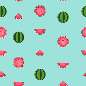 Impression de fond sans couture avec pastèque. illustration vectorielle