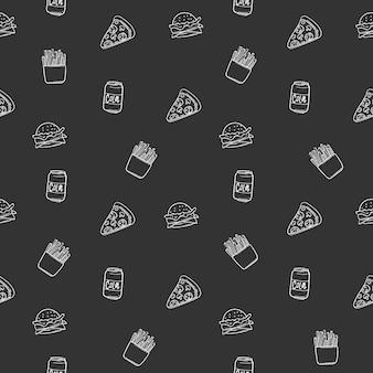 Impression de fond sans couture avec pizza, cola, pommes de terre frites, sandwich, illustration vectorielle eps 10.
