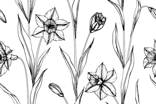 Impression de fond transparente fleur jonquille.