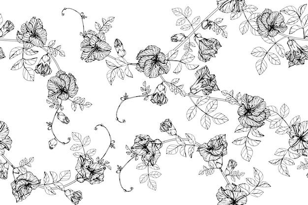 Impression de fond transparente fleur papillon pois.
