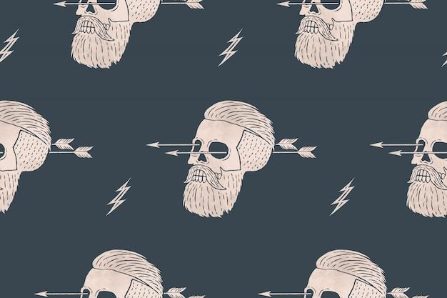 Impression de fond transparente hipster crâne vintage avec flèche