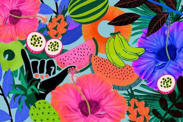 Impression de fond tropical coloré