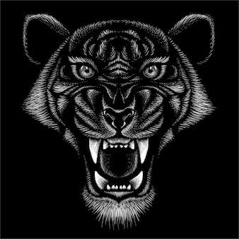 Impression de gros chat style chasse sur fond noir.