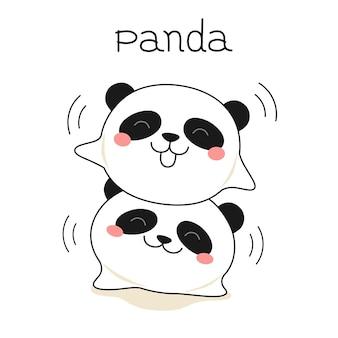 Impression d'illustration pour enfants mignons pandas heureux animaux