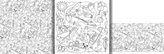 Impression de jardin et ensemble de bordures et de motifs sans couture