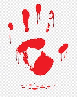 Impression de main sanglante isolée sur fond blanc. horreur effrayant sang sale handprint