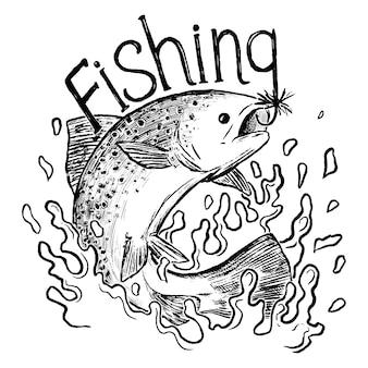 Impression de pêche, lettrage. la truite arc-en-ciel saute hors de l'eau. image de contour isolée sur fond blanc. gravure rétro pour le design. illustration vectorielle dessinés à la main.