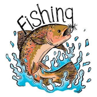 Impression de pêche, lettrage. la truite arc-en-ciel saute hors de l'eau. image couleur isolée sur fond blanc. gravure rétro pour le design. illustration vectorielle dessinés à la main.