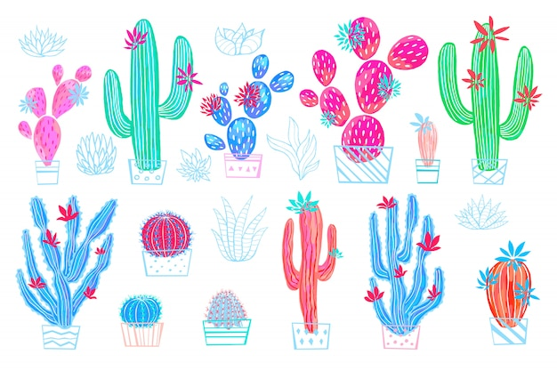 Impression de style de croquis aquarelle coloré de fleurs sauvages succulentes de cactus. collection lumineuse de plante d'intérieur botanique sur fond blanc. dessiné à la main.