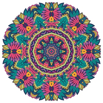 Impression de style folklorique psychédélique géométrique sans soudure de vecteur