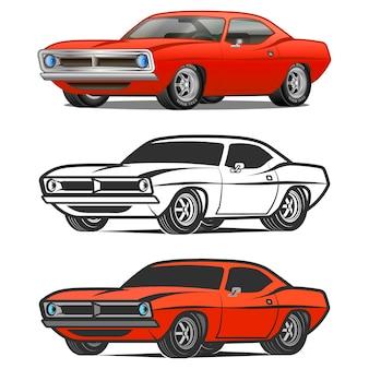 Impression de t-shirt affiche classique de vecteur de dessin animé de voiture de muscle