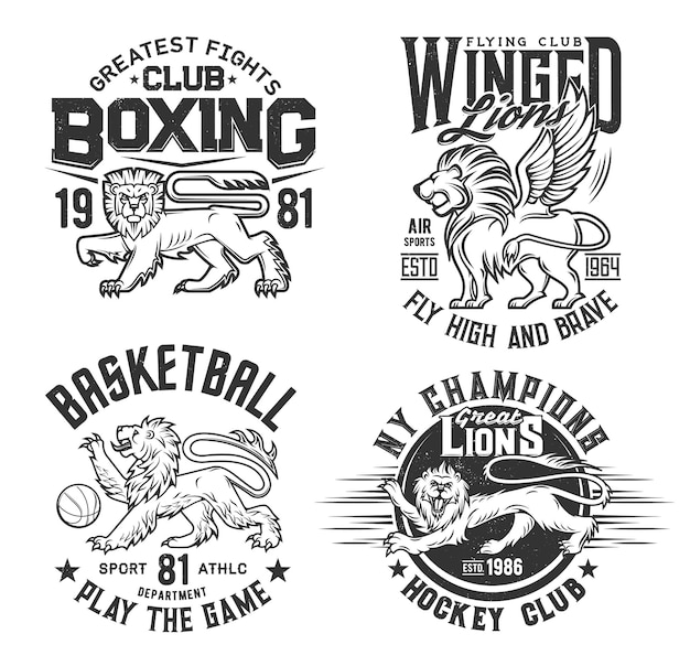 Impression de t-shirt animal lion, basket-ball, club de hockey