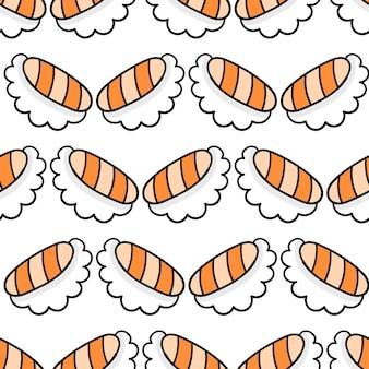 Impression textile de modèle sans couture de cuisine japonaise de sushi. idéal pour le tissu vintage d'été, le scrapbooking, le papier peint, les emballages cadeaux. motif de répétition de la conception de fond