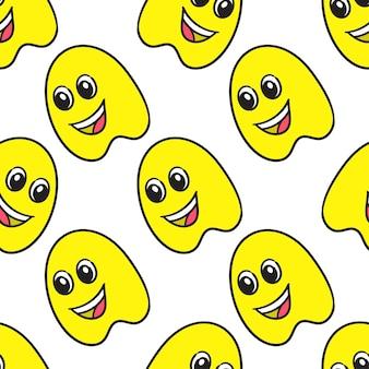 Impression textile de modèle sans couture jaune fantôme souriant. idéal pour le tissu vintage d'été, le scrapbooking, le papier peint, les emballages cadeaux. motif de répétition de la conception de fond