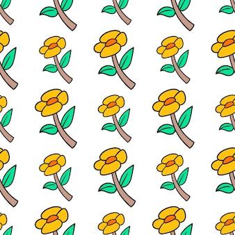 Impression textile de modèle sans couture de tournesols de printemps. idéal pour le tissu vintage d'été, le scrapbooking, le papier peint, les emballages cadeaux. motif de répétition de la conception de fond