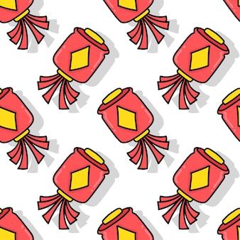 Impression textile sans couture de lanterne du nouvel an chinois. idéal pour le tissu vintage d'été, le scrapbooking, le papier peint, les emballages cadeaux. motif de répétition de la conception de fond