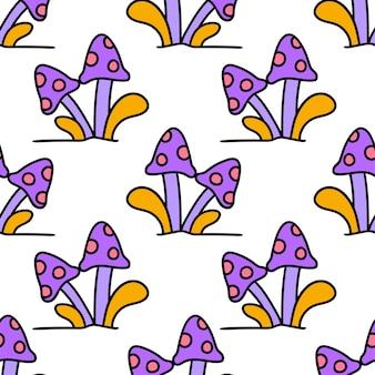 Impression de textile sans couture de modèle de champignons kawaii de dessin animé. idéal pour le tissu vintage d'été, le scrapbooking, le papier peint, les emballages cadeaux. motif de répétition de la conception de fond