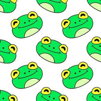 Impression textile transparente motif tête de grenouille. idéal pour le tissu vintage d'été, le scrapbooking, le papier peint, les emballages cadeaux. motif de répétition de la conception de fond