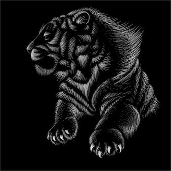 Impression de tigres de style chasse sur fond noir.