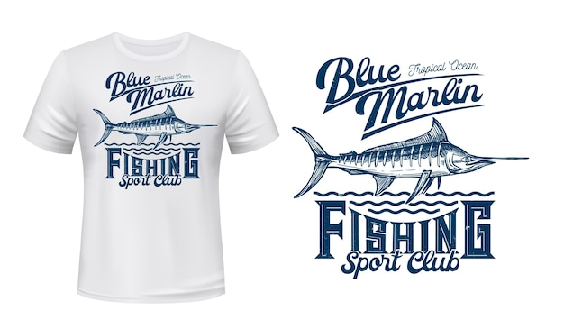 Impression de vecteur de t-shirt poisson marlin