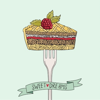 Impression vintage avec un morceau de gâteau sur une fourchette.