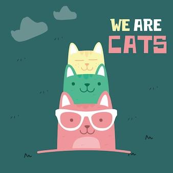 Impressionnant doodle rétro dessinant des chats mignons. style enfants