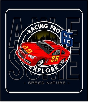 Impressionnant graphique de conception d'illustration vectorielle de voiture d'équipe de course pour l'impression