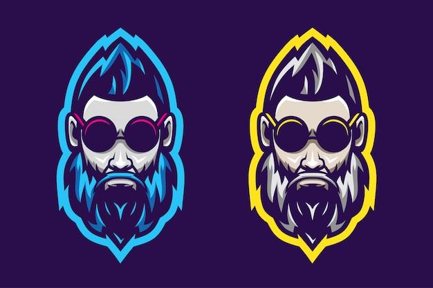 Impressionnant homme barbe logo option couleur