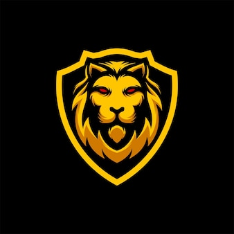 Impressionnant illustration vectorielle de la mascotte de logo de bouclier de tête de lion